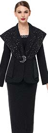 Serafina 3852 Over Shoulder Layer Jacket & Skirt Set In Knit Fabric