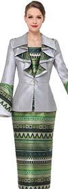 Serafina 3853 Womens Multi Print Design Skirt Set With Bell Sleeve Ruffle Lapel Jacket