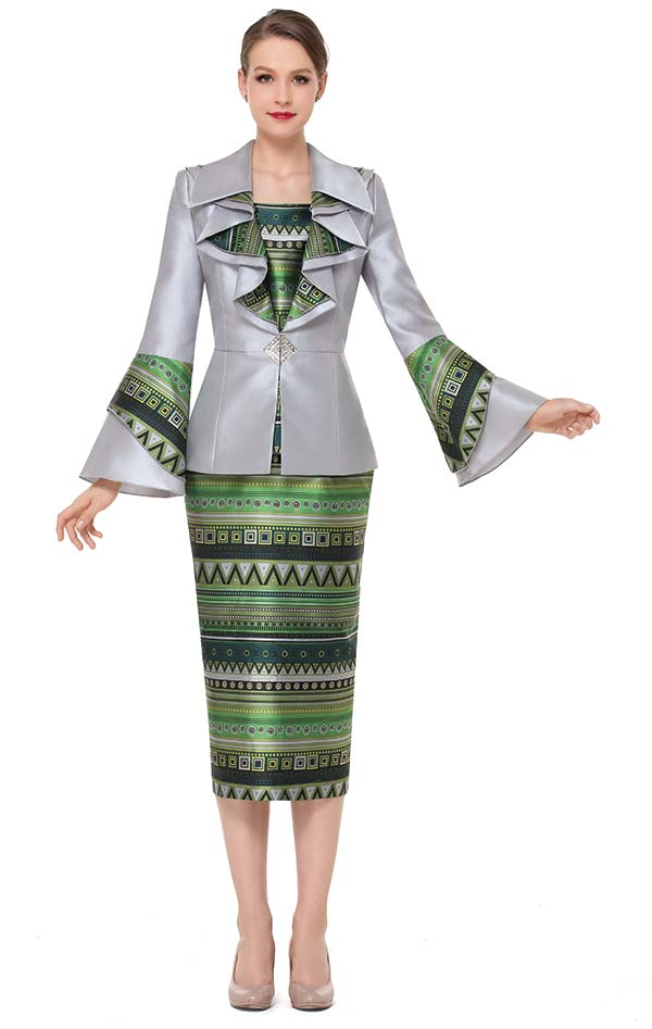 Serafina 3853 Womens Multi Print Design Skirt Set With Bell Sleeve Ruffle Lapel Jacket