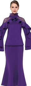 Serafina 3854 Ladies Flared Skirt Suit With Ruffle Design Bell Sleeve Jacket