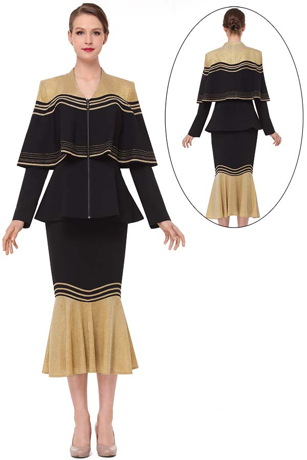 Serafina 3856-BlackGold - Flounce Hem Skirt Set With Cape Style Peplum Jacket