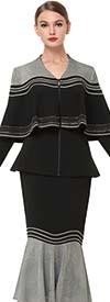 Serafina 3856-BlackSilver - Flounce Hem Skirt Set With Cape Style Peplum Jacket