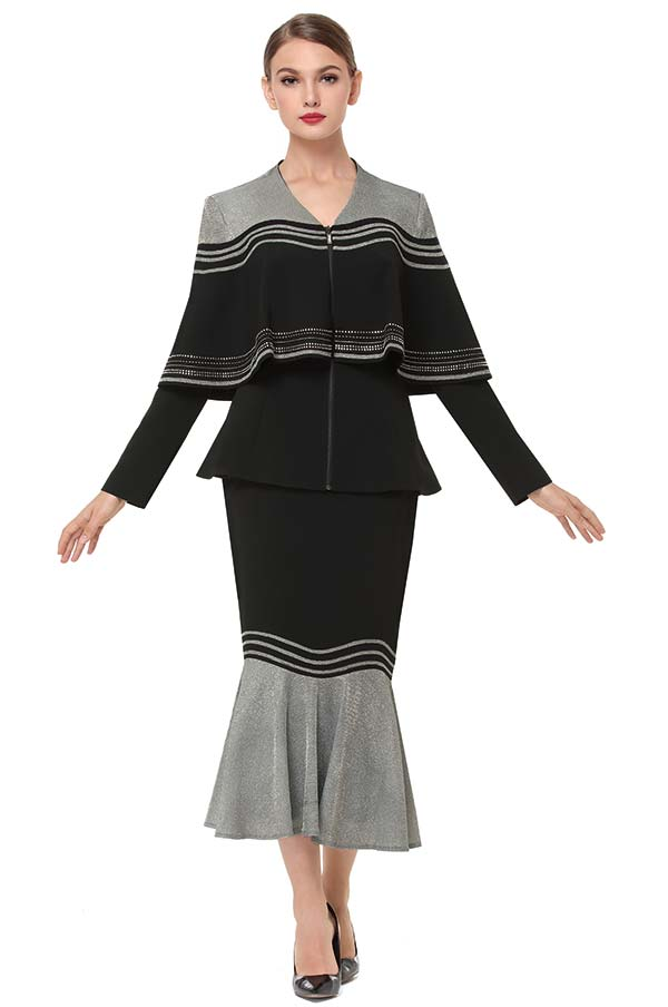 Serafina 3856-BlackSilver - Flounce Hem Skirt Set With Cape Style Peplum Jacket