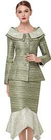 Serafina 3857 Handkerchief Flounce Hem Skirt Outfit With Portrait Collar