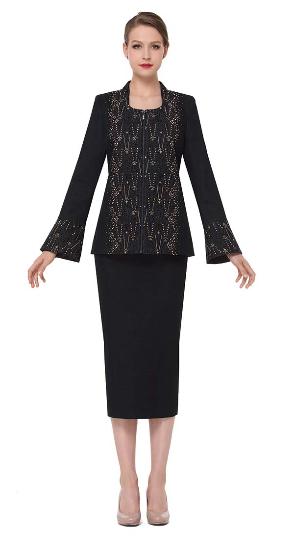 Serafina 3860 Womens Bell Cuff Sleeve Skirt Suit In Stretch Denim Fabric