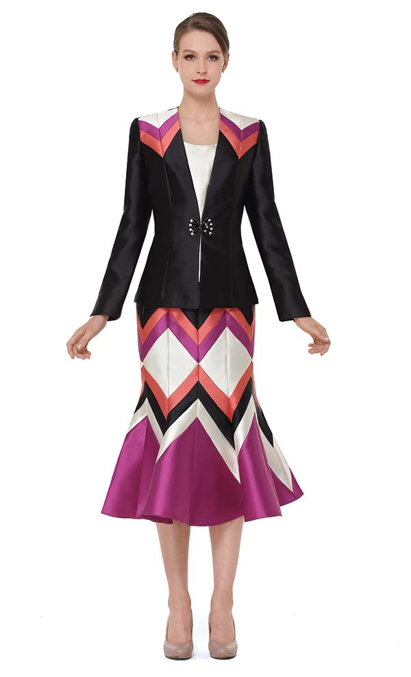 Serafina 3863 Womens  Multi Color Church Suit With Flared Skirt