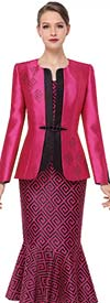 Serafina 3865 Flounce Skirt Suit With Geometric Pattern Design