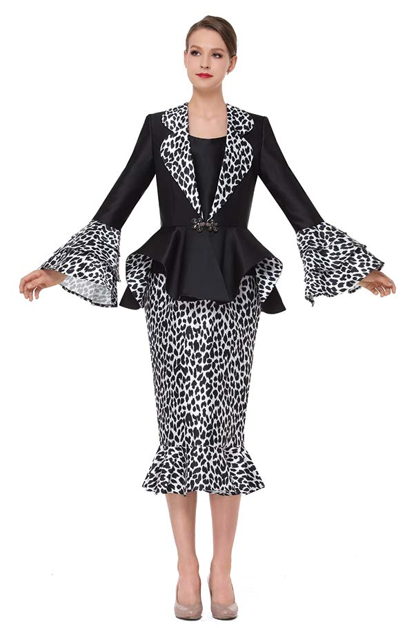 Serafina 3866 Flounce Hem Skirt Outfit With Rounded Lapel Bell Cuff Peplum Jacket In Animal Print