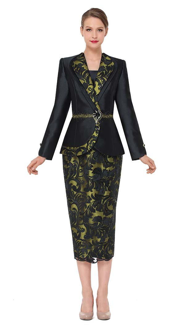 Serafina 3871 Womens Church Suit With Lace Sequence Design