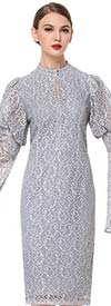 Serafina 6169 Lace Puff & Wide Bell Sleeve Dress With Keyhole Neckline
