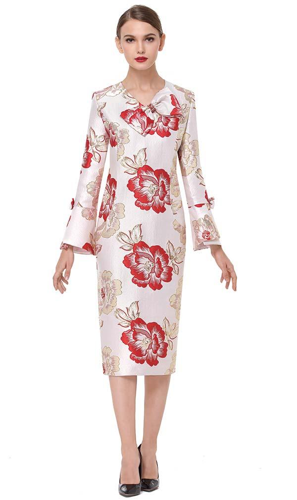 Serafina 6170 Vee Neckline Dress In Floral Print Brocade Fabric
