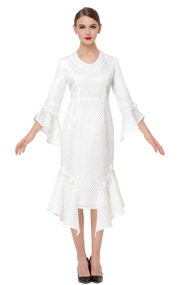 Serafina 6175 Ruffled Trim Dress With Bell Sleeve Cuffs