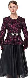 Serafina 6176 Bell Sleeve Lace Jacket & Pleated Organza Skirt