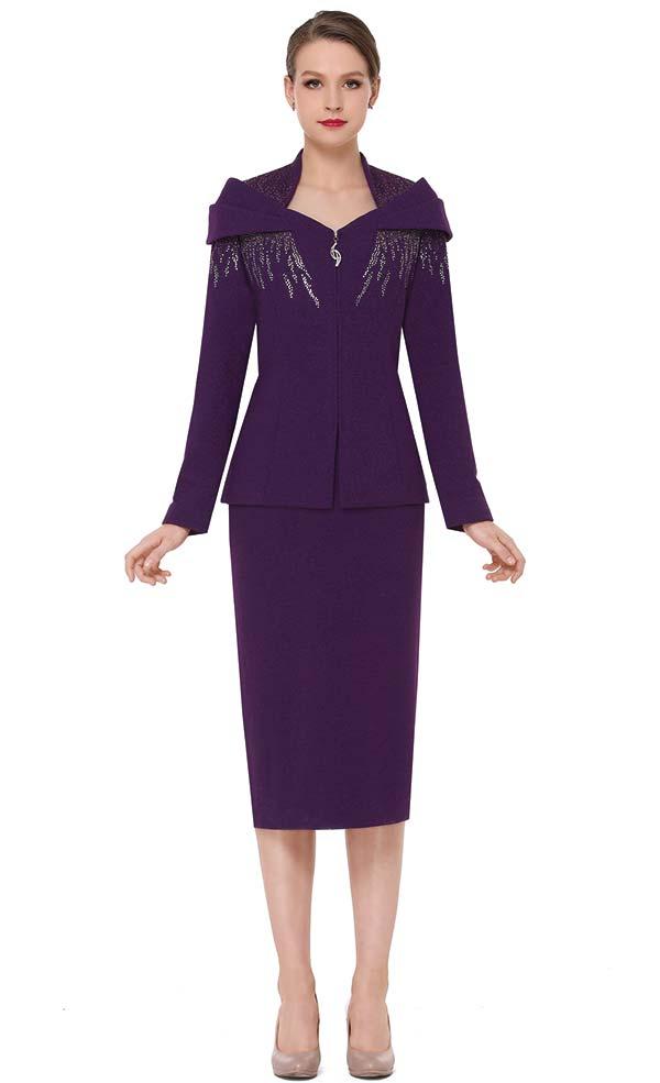 Serafina 805 Embellished Over Shoulder Layer Jacket & Skirt Set In Knit Fabric