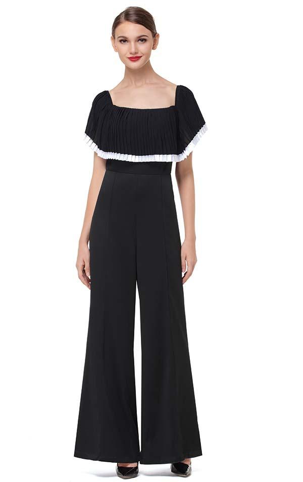 Serafina 8451 Ladies Jumpsuit With Wide Neckline & Over The Shoulder Layer