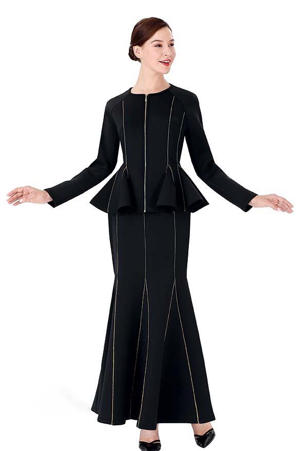 Serafina 3008J-3009S Church Suit With Pleated Skirt And Peplum Jacket