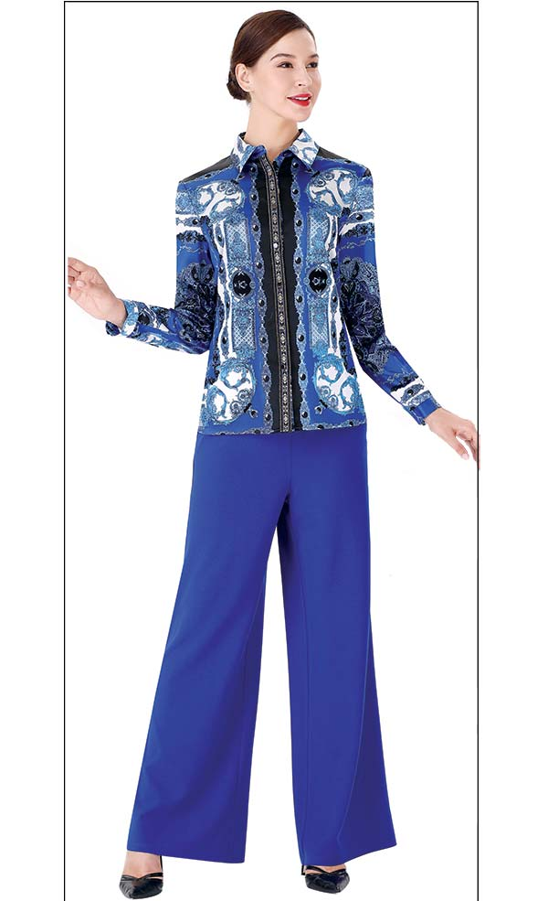 Serafina 3011B-4002P Wide Cuff Pant Suit With Multi Color Printed Blouse