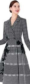 Serafina 3014C Womens Coat Dress With Plaid Bodice And Embroidery Accents