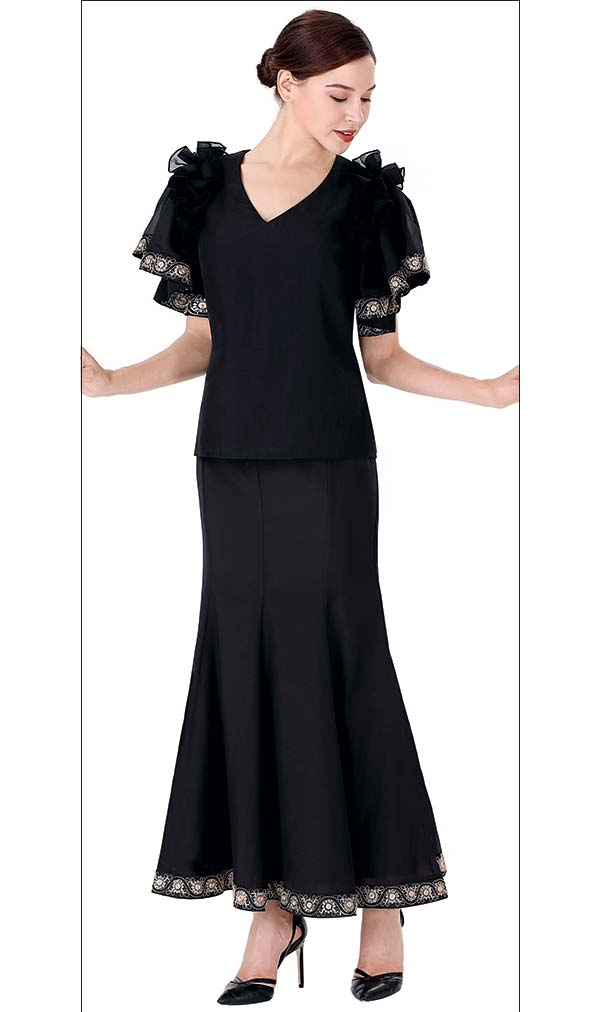 Serafina 3018T-3019S Vee Neckline Church Suit With Pleated Skirt And Ruffled Sleeves