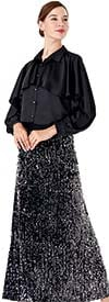 Serafina 3021B-4006S Capelet Style Blouse And Sequin Embellished Skirt Set