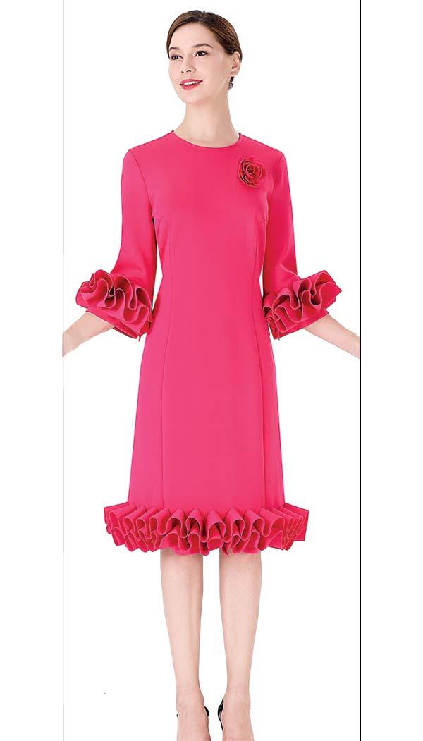 Serafina 3032D Ruffle Trimmed Dress With Flower Brooch In Scuba Fabric