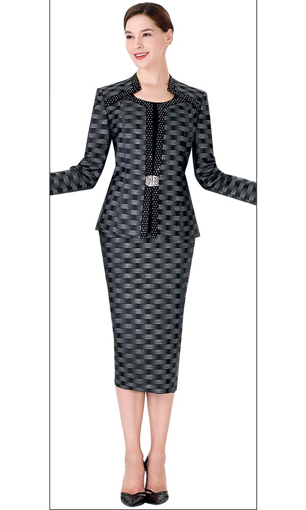 Serafina 3723 Skirt Suit With Embellished Jacket In Woven 3D Effect Pattern Print