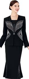Serafina 3951 Womens Church Suit With Embellished Jacket And Godet Pleated Skirt