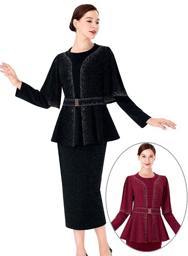 Serafina 3952 Skirt Suit With Embellished Cape Sleeve Peplum Jacket