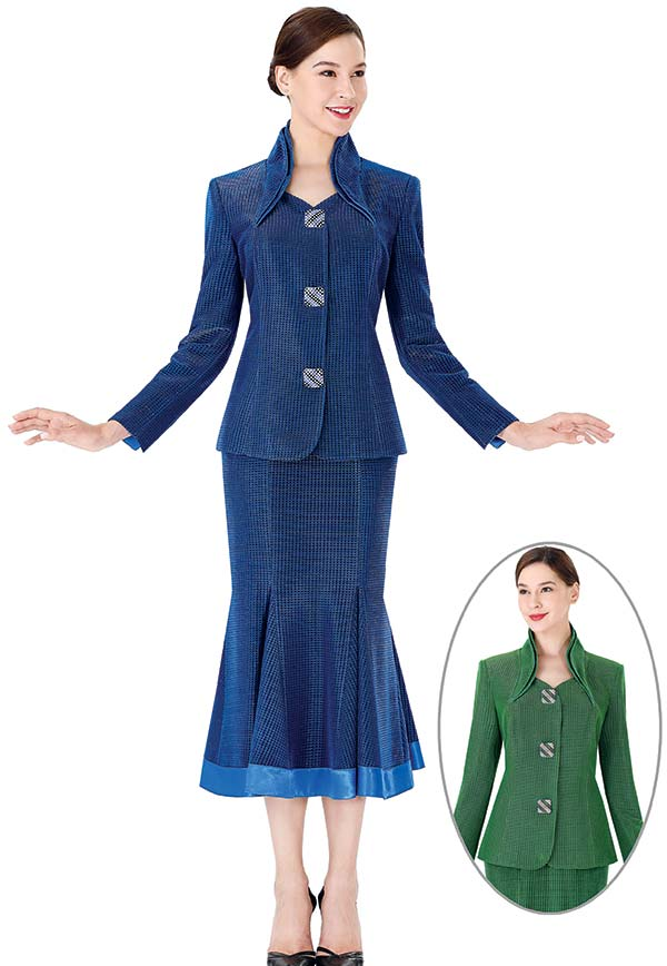 Serafina 3953 Womens Church Suit With Godet Pleated Skirt And Stand Up Collar Square Button Jacket