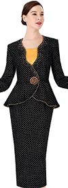 Serafina 3954 Womens Embellished Skirt Suit With Peplum Style Bell Sleeve Jacket