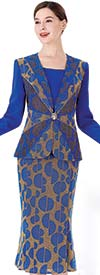 Serafina 3955 Flared Skirt Suit With Embellished Jacket In Split Sphere Pattern Design