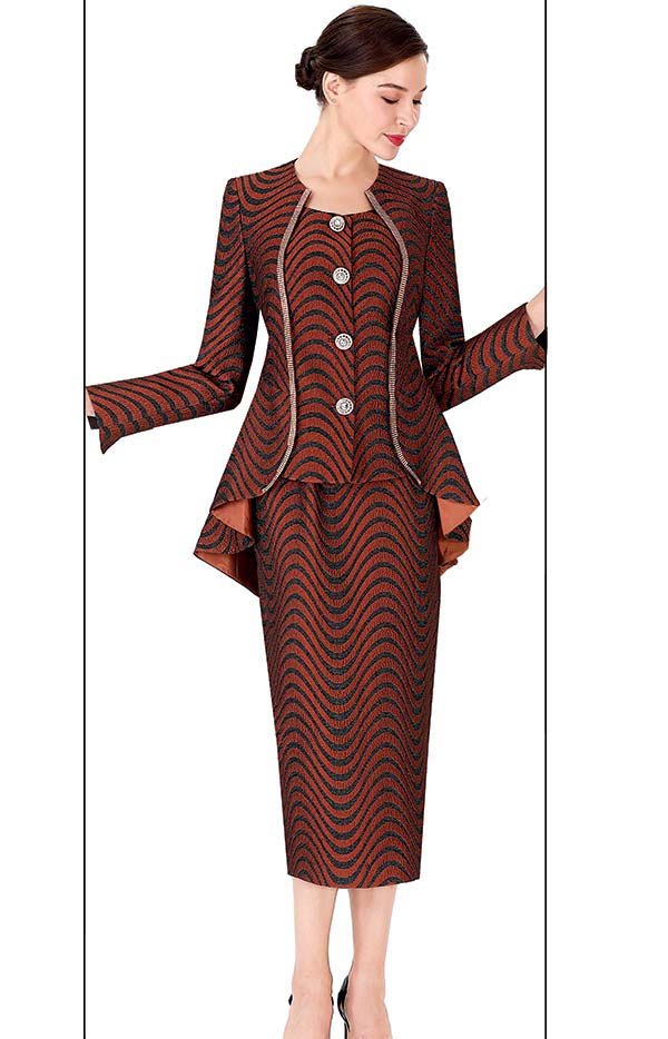 Serafina 3958-Brown - Wave Pattern Design Skirt Suit With Extended Peplum Jacket