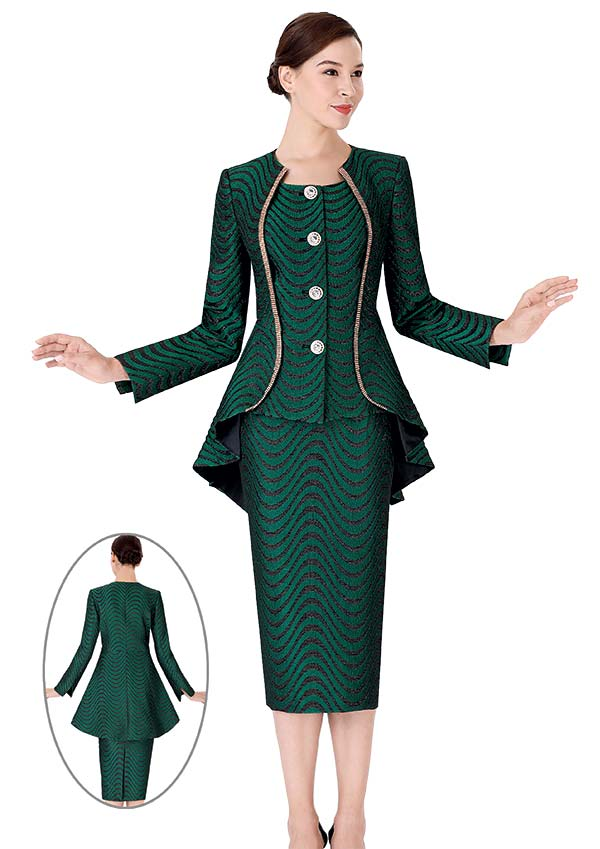 Serafina 3958-Green - Wave Pattern Design Skirt Suit With Extended Peplum Jacket