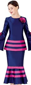 Serafina 3959 Striped Flounce Skirt Suit With Fabric Flower Adorned Bell Sleeve Peplum Jacket