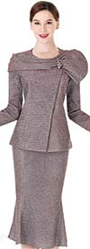 Serafina 3964 Flared Skirt Suit With Over Shoulder Adornment On Jacket