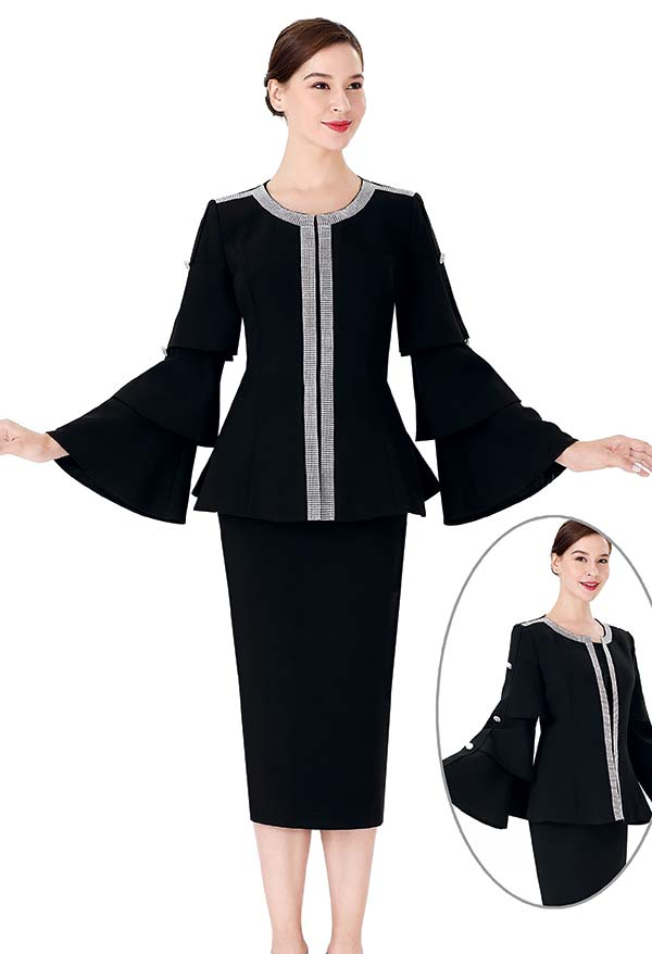 Serafina 3965 Skirt Suit With Button Accented Triple Tiered Bell Sleeve Jacket