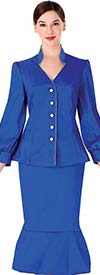 Serafina 3967 Womens Church Suit With Flounce Hem Skirt And Bishop Sleeve Vee Neckline Jacket