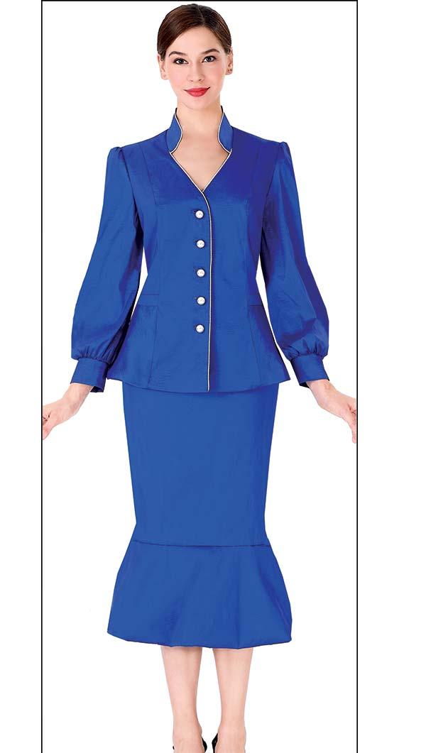 Serafina 3967 Womens Church Suit With Flounce Hem Skirt And Bishop Sleeve Vee Neckline Jacket