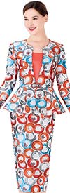 Serafina 3970 Circular Print Skirt Suit With Peplum Jacket