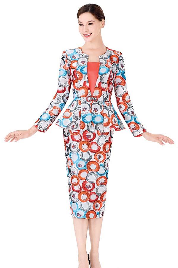 Serafina 3970 Circular Print Skirt Suit With Peplum Jacket