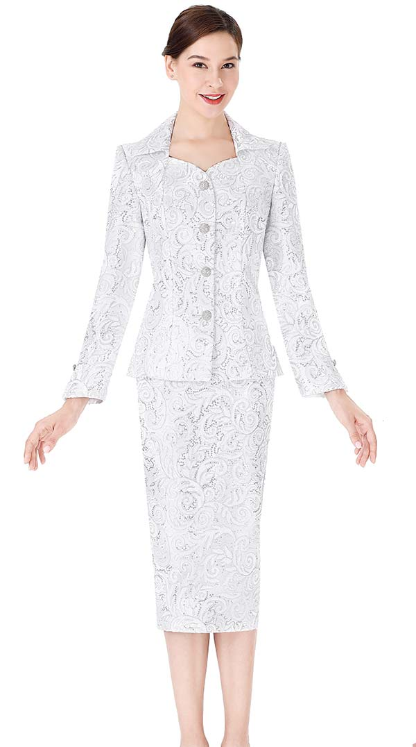 Serafina 3971 Lace Fabric Skirt Suit With Wing Collar Jacket