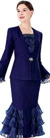 Serafina 3974 Womens Church Suit With Embellished Rufffle Accents On Jacket And Skirt
