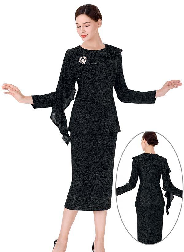 Serafina 3977 Stretch Fabric Skirt Suit With Half Cape Design Brooch Adorned Jacket