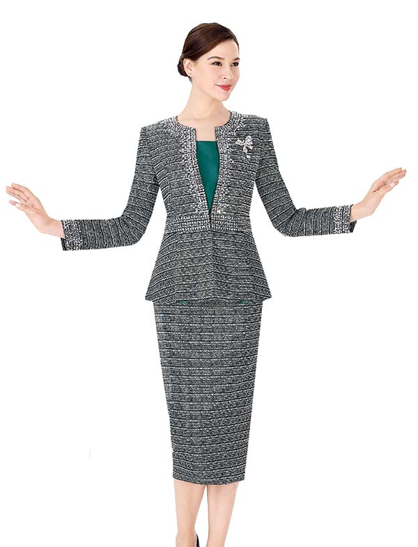 Serafina 3979 Womens Three Piece Skirt Suit With Bow Brooch