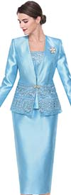 Serafina 3413 Womens Church Suit With Lace Applique Design