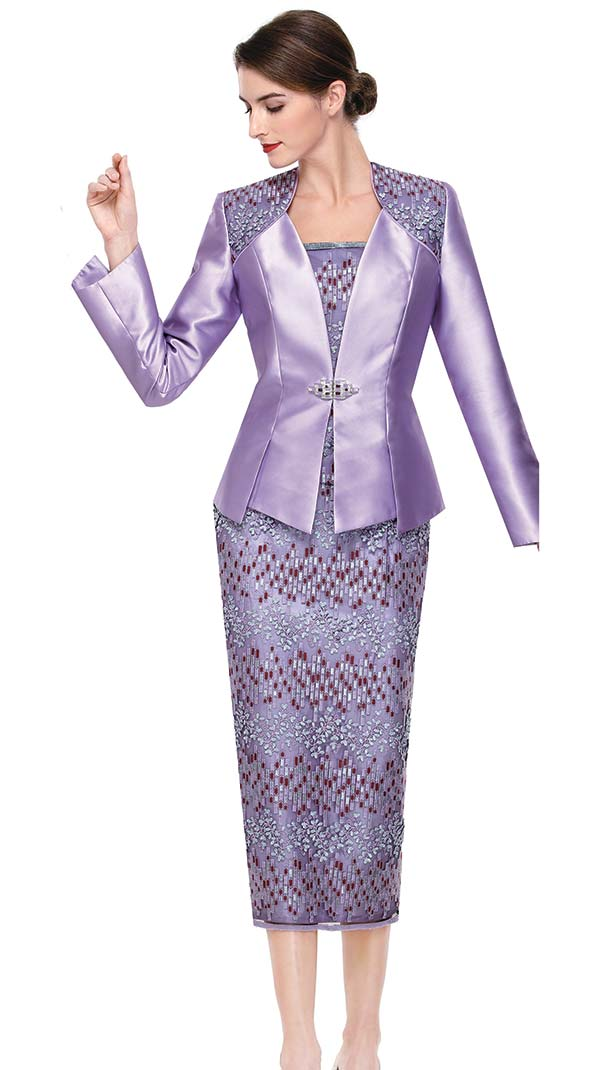Serafina 3828 Pattern And Solid Design Silky Twill Womens Church Suit With Lace