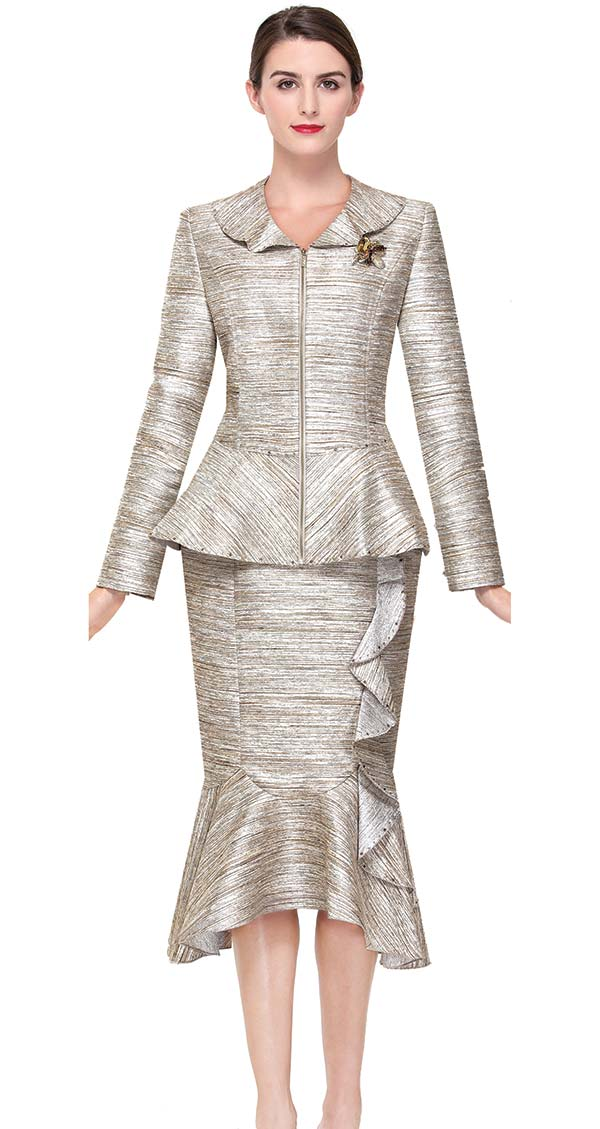 Serafina 3862 Ruffle And Flounce Hem Skirt Suit With Peplum Jacket