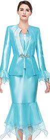 Serafina 3902 Womens Tulle Flounce Church Suit In Silky Twill Fabric