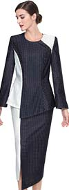 Serafina 3903 Asymmetric Design Church Suit With Dual Colors