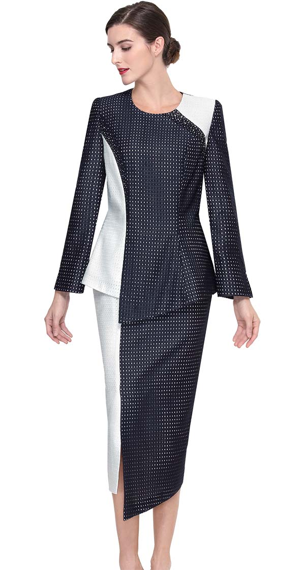 Serafina 3903 Asymmetric Design Church Suit With Dual Colors
